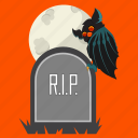 bat, halloween, headstone, rip, scary, tombstone, vampire