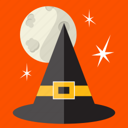 halloween, hat, holiday, moon, scary, spooky, witch icon