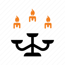 candelier, candle, candles, fire, halloween, holiday, light icon