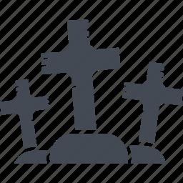 cemetery, crosses, halloween, scary icon