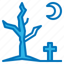 dead, graveyard, halloween, night, tree icon