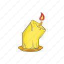 burning, candle, cartoon, decoration, halloween, illuminated icon