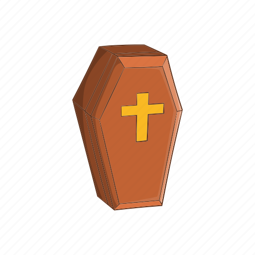 cartoon, coffin, dead, deceased, funeral, halloween, wood icon