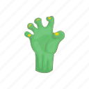cartoon, corpse, creepy, dark, dead, green, hand icon