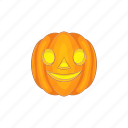 cartoon, face, halloween, holiday, lantern, pumpkin, smile icon