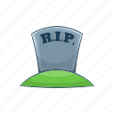 cartoon, cross, death, grave, halloween, rip, tomb icon
