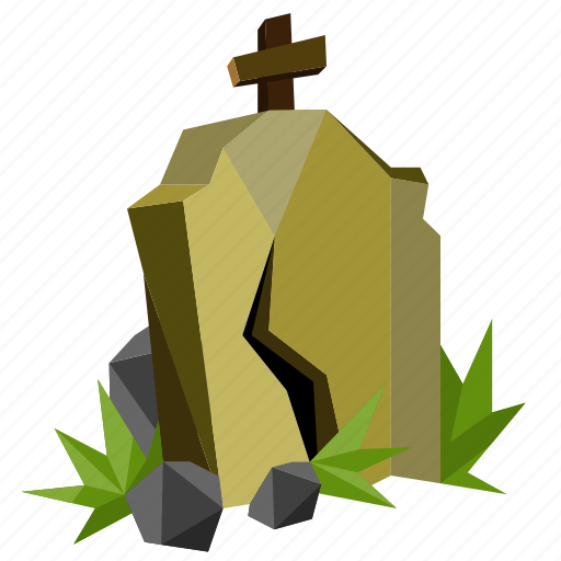 cemetery, halloween, holiday, low-poly, scary, spooky, tombstone icon