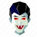 scary, head, spooky, halloween, vampire, holiday, low-poly