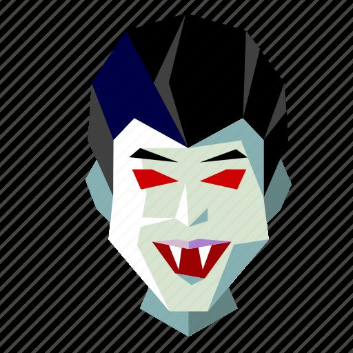 halloween, head, holiday, low-poly, scary, spooky, vampire icon