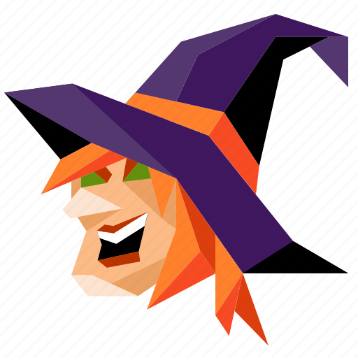 halloween, head, holiday, low-poly, scary, spooky, witch icon
