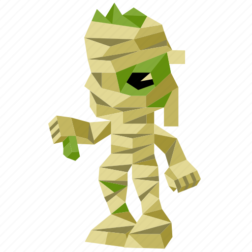 halloween, holiday, low-poly, mummy, scary, spooky, zombie icon