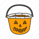basket, halloween, pumpkin basket, trick or treat icon