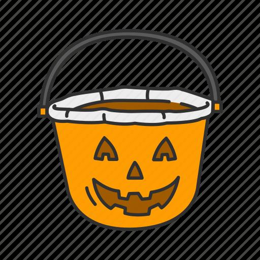 basket, halloween, pumpkin basket, trick or treat icon