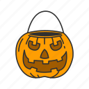 halloween, pumpkin, pumpkin basket, trick or treat icon