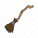 black magic, broomstick, witch, witch's broom icon