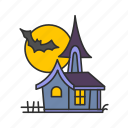 full moon, haunted house, moon, old mansion icon