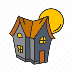 full moon, haunted house, house, moon icon