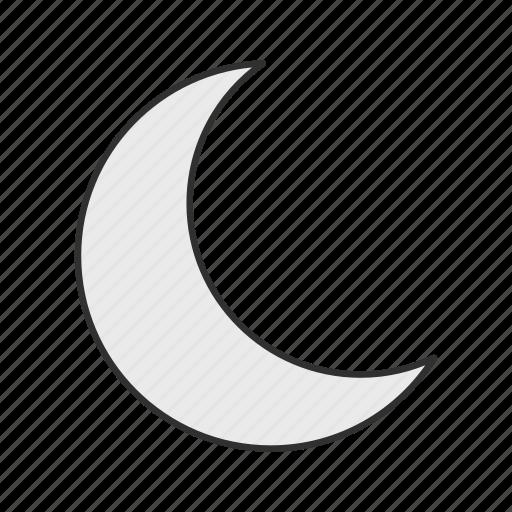 half moon, midnight, moon, satellite icon