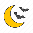 bat, bats, half moon, spooky icon