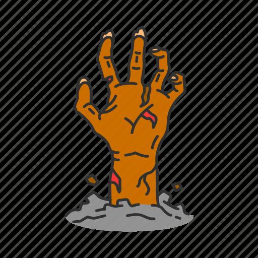 dead, hand, horror, monster icon