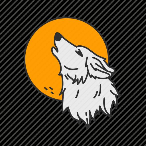 full moon, howl, moon, wolf icon