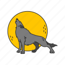 full moon, howl, moon, wolf icon