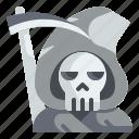 character, grim, halloween, reaper, scythe, skeleton, skull