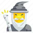character, halloween, magic, necromancer, sorcerer, witchcraft, wizard icon