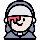 avatar, costume, halloween, nun, october icon