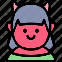 avatar, costume, devil, girl, halloween, october icon