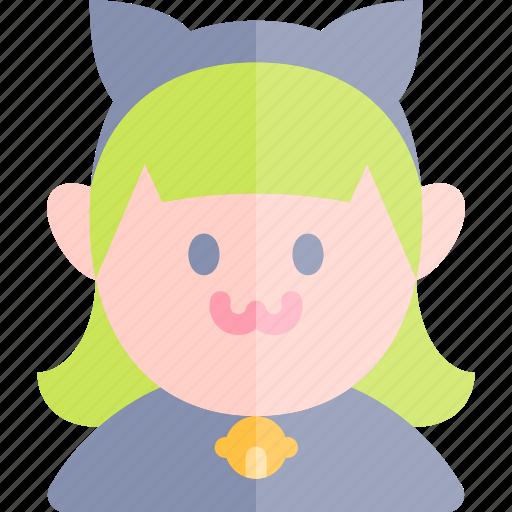 avatar, cat, costume, girl, halloween, october icon