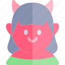 avatar, costume, devil, girl, halloween, october icon
