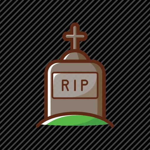 cartoon, cemetery, death, grave, halloween, rip icon