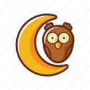 animal, bird, halloween, moon, night, owl icon