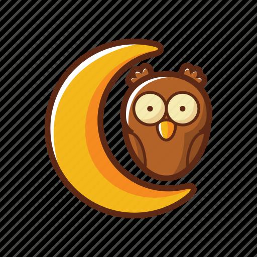 animal, bird, halloween, moon, night, owl icon