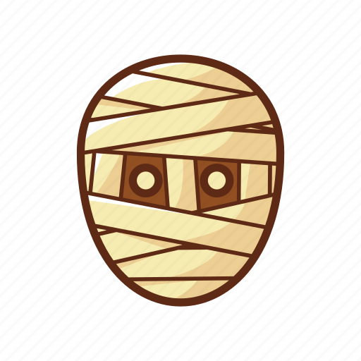 cartoon, character, dead, halloween, head, mummy icon