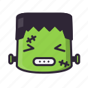 angry, frankenstein, halloween, kawaii icon