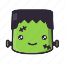 frankenstein, halloween, happy, kawaii icon