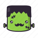frankenstein, halloween, hipster, moustache icon