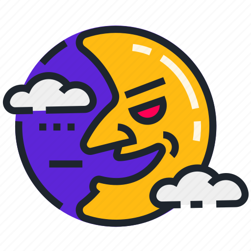 cloudy, halloween, horror, moon, night, scary, spooky icon