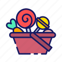 basket, scary, halloween, lollipop, candy, sweets, halloween party icon