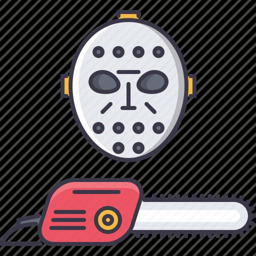 chainsaw, fantasy, halloween, legend, mask, story icon