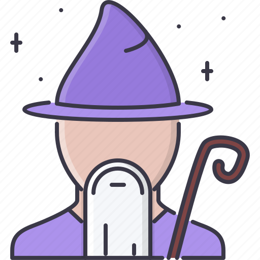 fantasy, halloween, legend, magic, staff, story, wizard icon