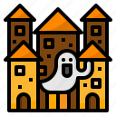 castle, ghost, halloween, house, huanted icon