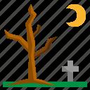 dead, graveyard, halloween, night, tree
