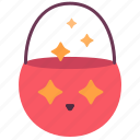 bucket, candy, halloween, kid, pumpkin, treat, trict icon