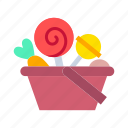 halloween, halloween party, candy, lollipop, basket, scary, sweets icon
