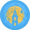 castle, cemetery, chapel, church, grave, halloween, moon icon