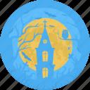 cemetery, halloween, moon, church, castle, grave, chapel icon