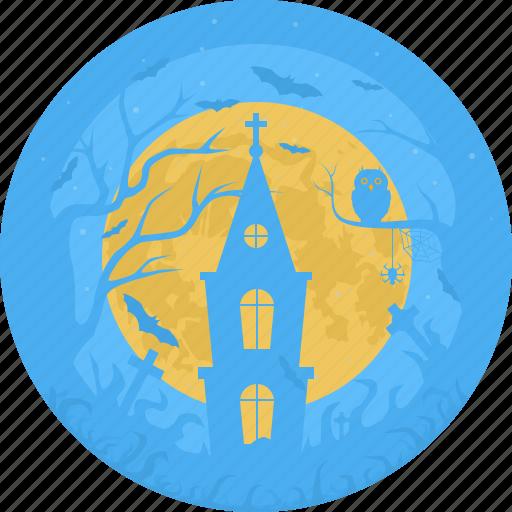 castle, cemetery, chapel, church, grave, halloween, moon icon
